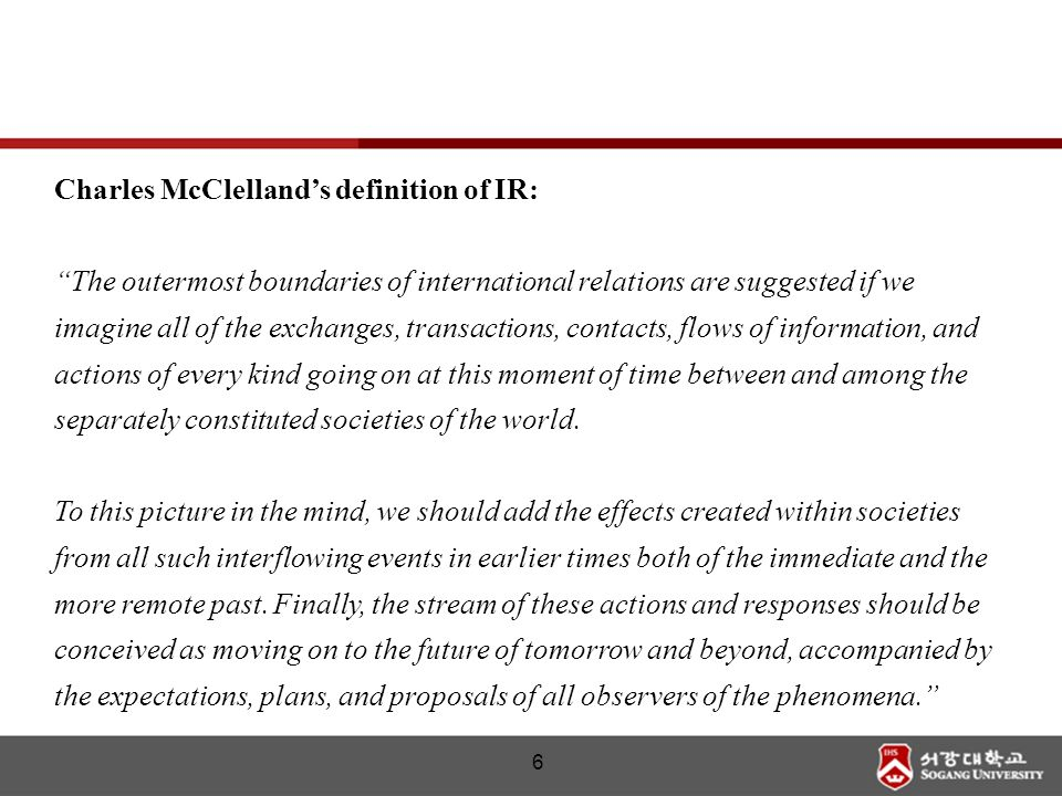 Charles McClelland's definition of IR: