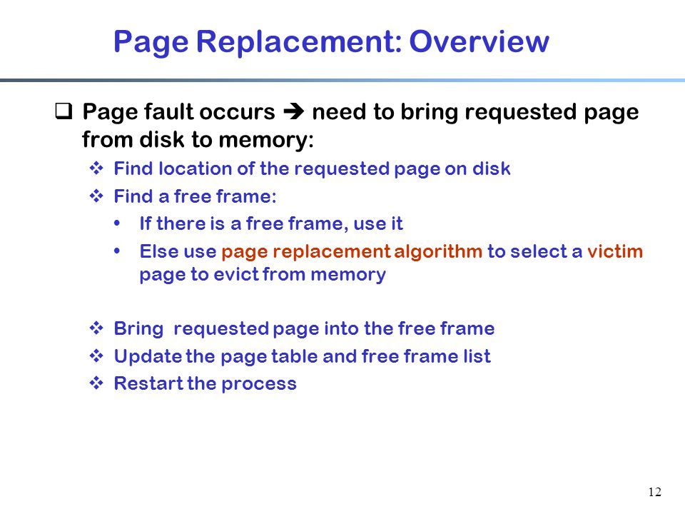 Page Replacement: Overview