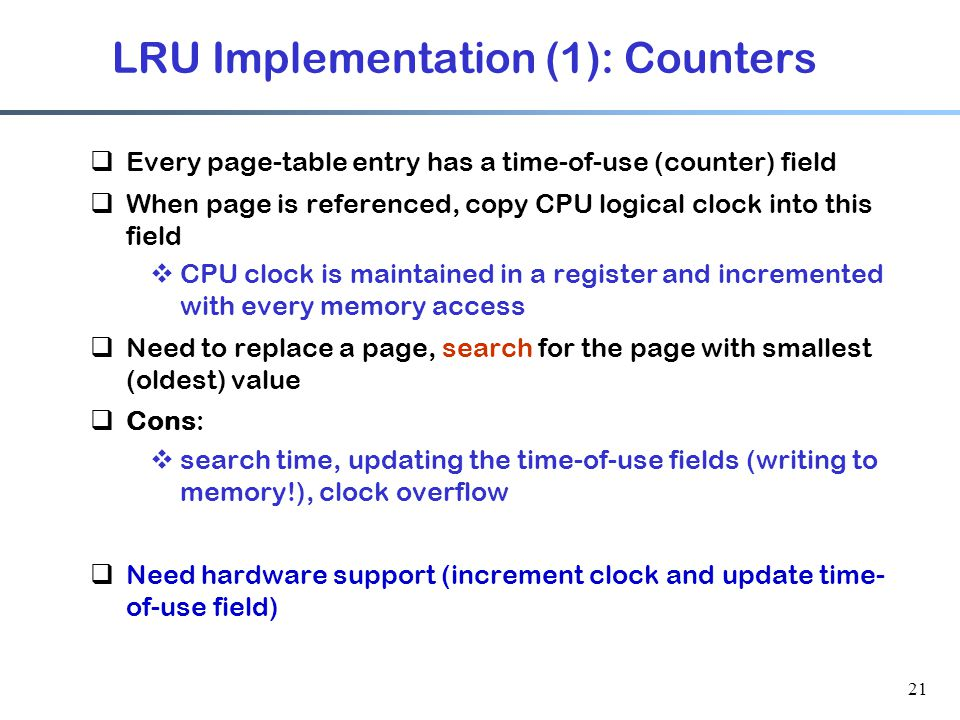 LRU Implementation (1): Counters