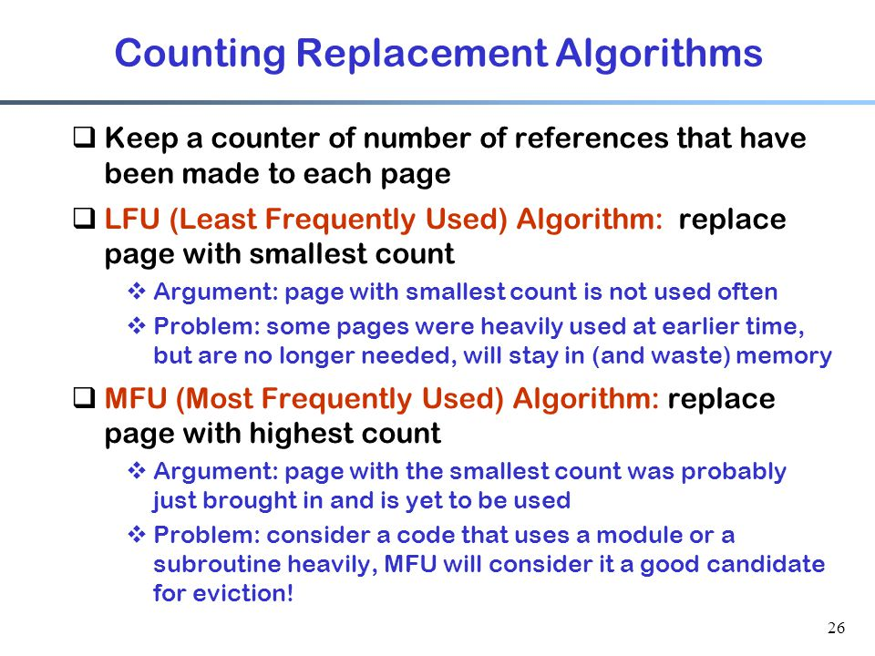 Counting Replacement Algorithms