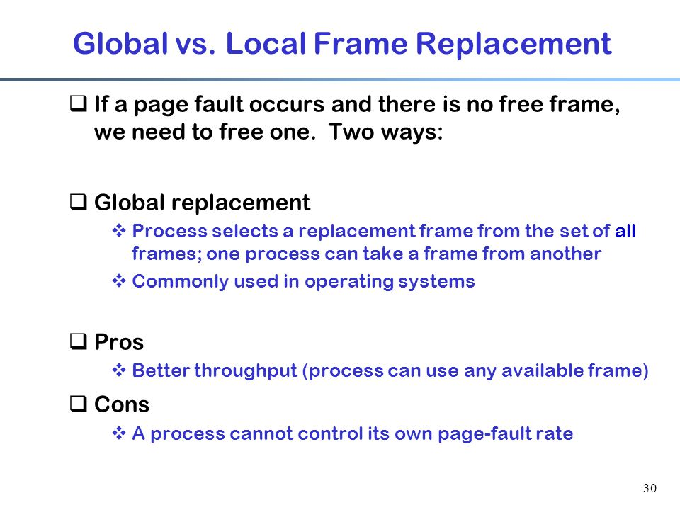 Global vs. Local Frame Replacement