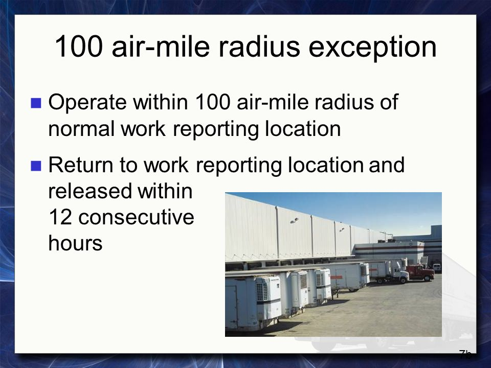 100 air-mile radius exception