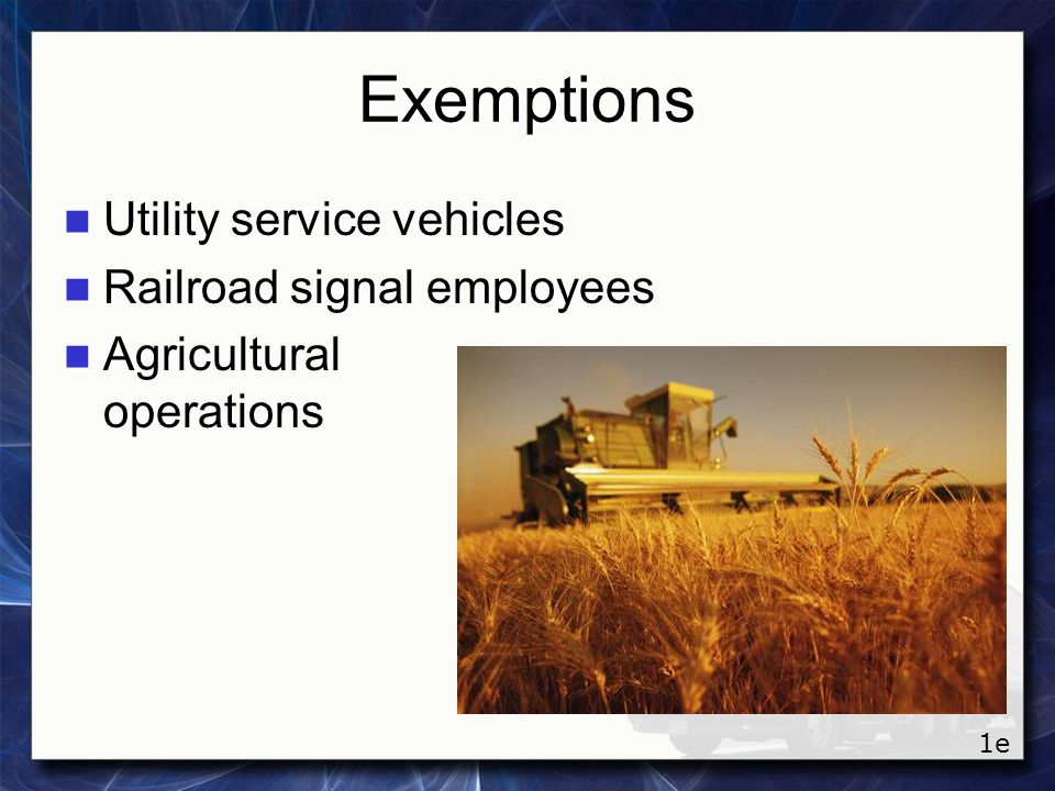 Exemptions Utility service vehicles Railroad signal employees