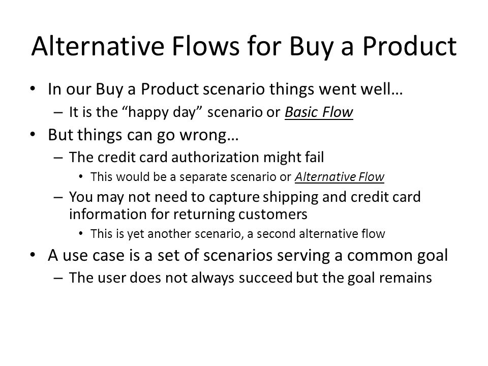 Alternative Flows for Buy a Product