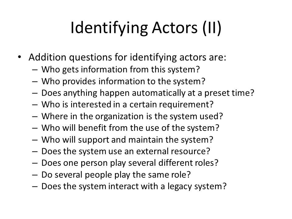 Identifying Actors (II)