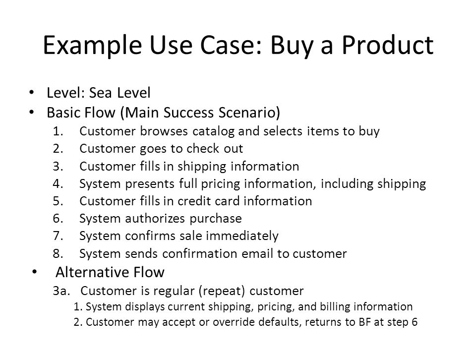 Example Use Case: Buy a Product