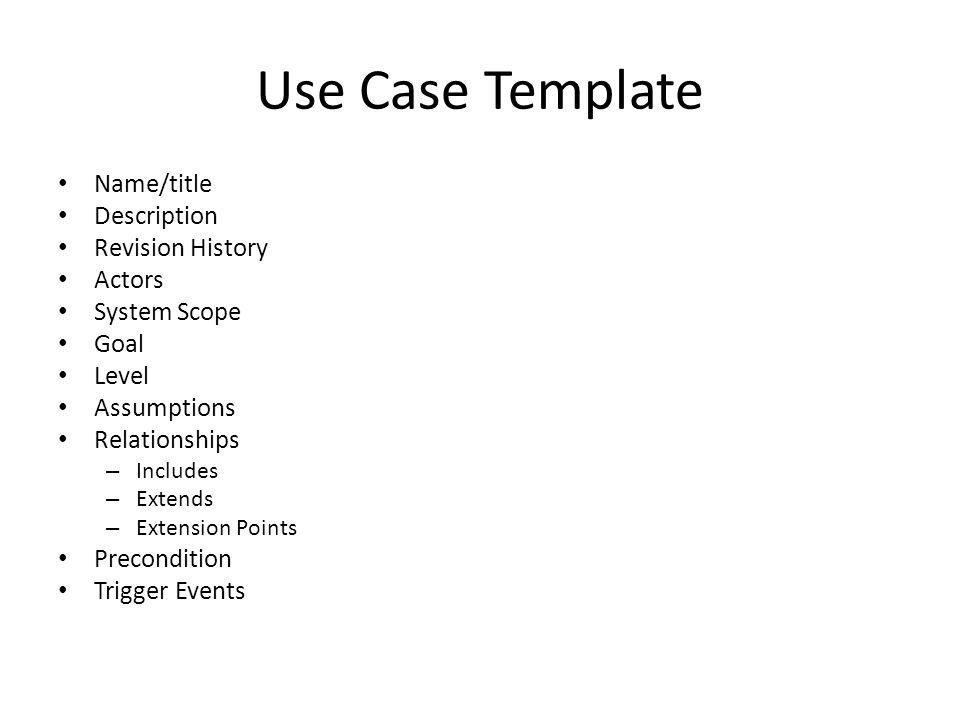 Use Case Template Name/title Description Revision History Actors