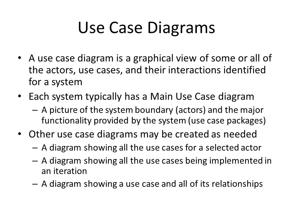 Use Case Diagrams A use case diagram is a graphical view of some or all of the actors, use cases, and their interactions identified for a system.