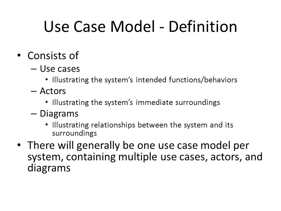 Use Case Model - Definition