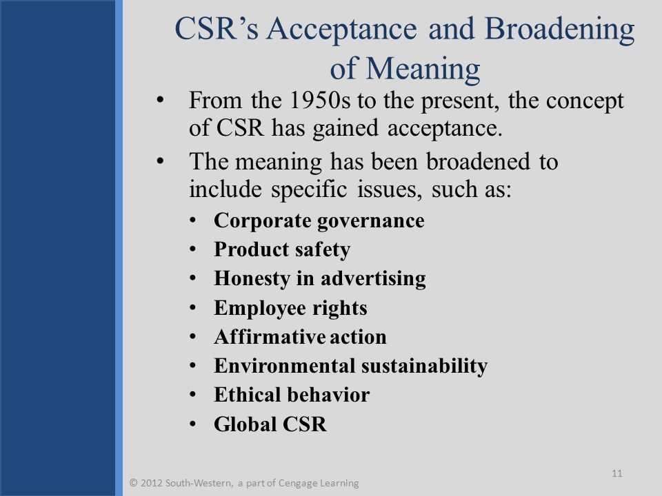 CSR's Acceptance and Broadening of Meaning