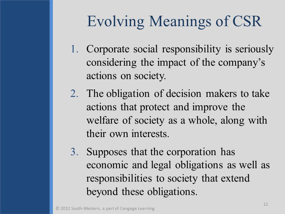 Evolving Meanings of CSR