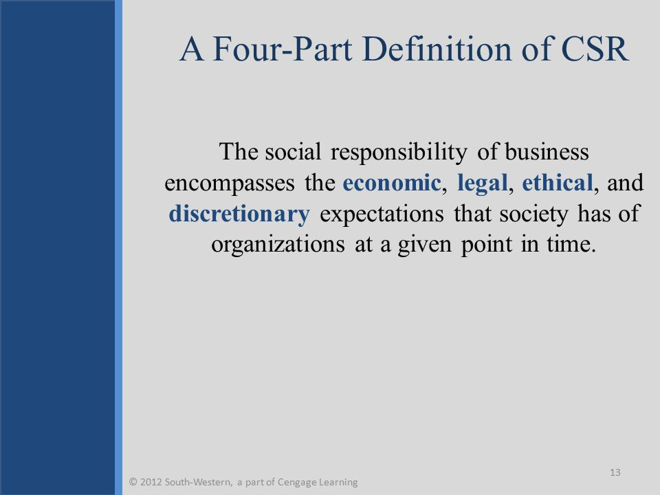 A Four-Part Definition of CSR