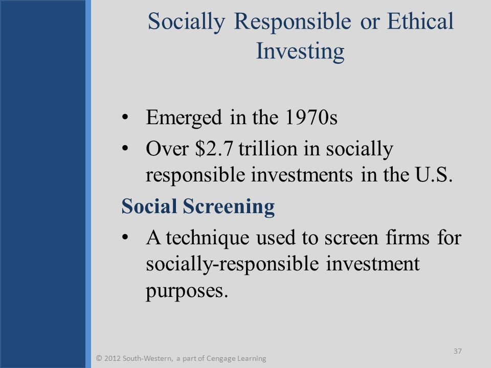 Socially Responsible or Ethical Investing