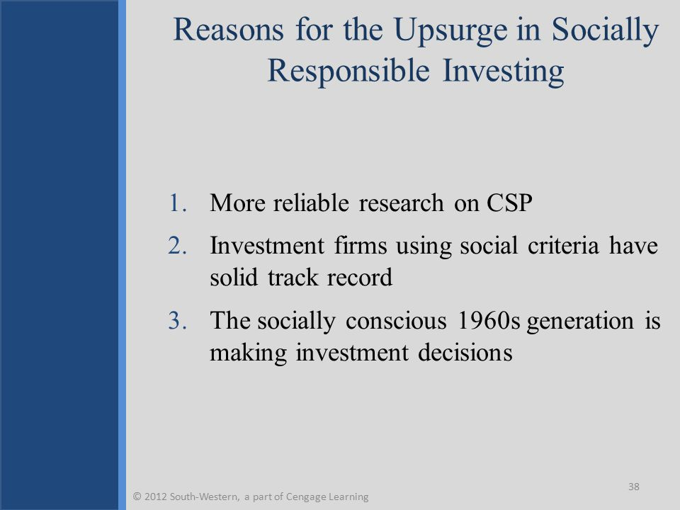 Reasons for the Upsurge in Socially Responsible Investing