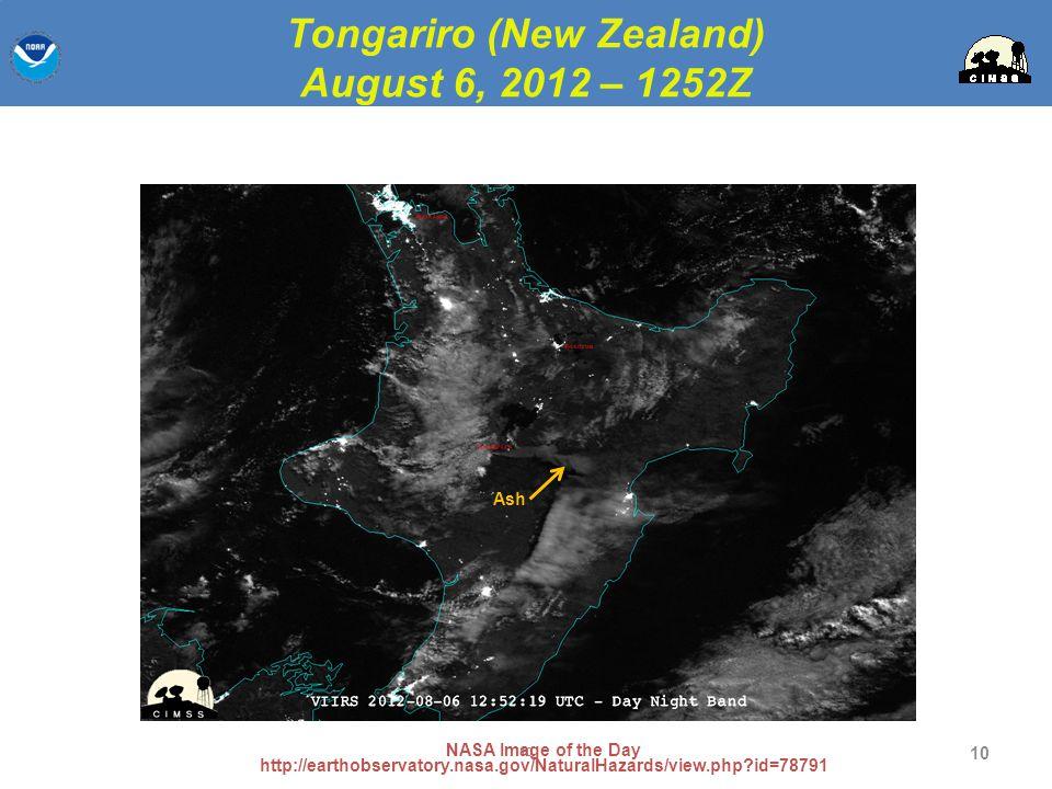 Tongariro (New Zealand) August 6, 2012 – 1252Z
