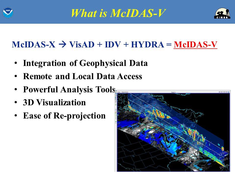 McIDAS-X  VisAD + IDV + HYDRA = McIDAS-V