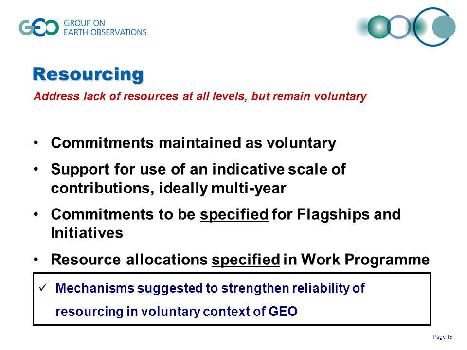 Resourcing Commitments maintained as voluntary