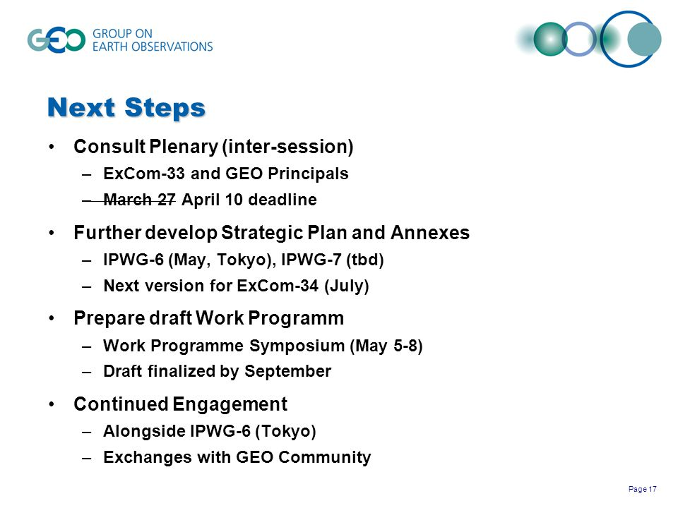 Next Steps Consult Plenary (inter-session)