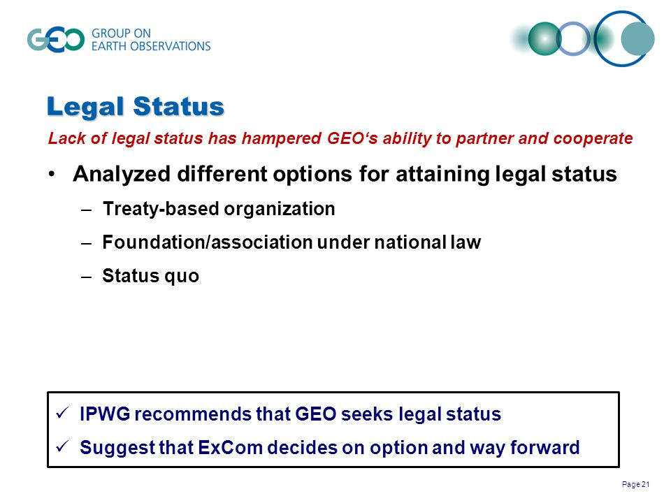 Legal Status Analyzed different options for attaining legal status