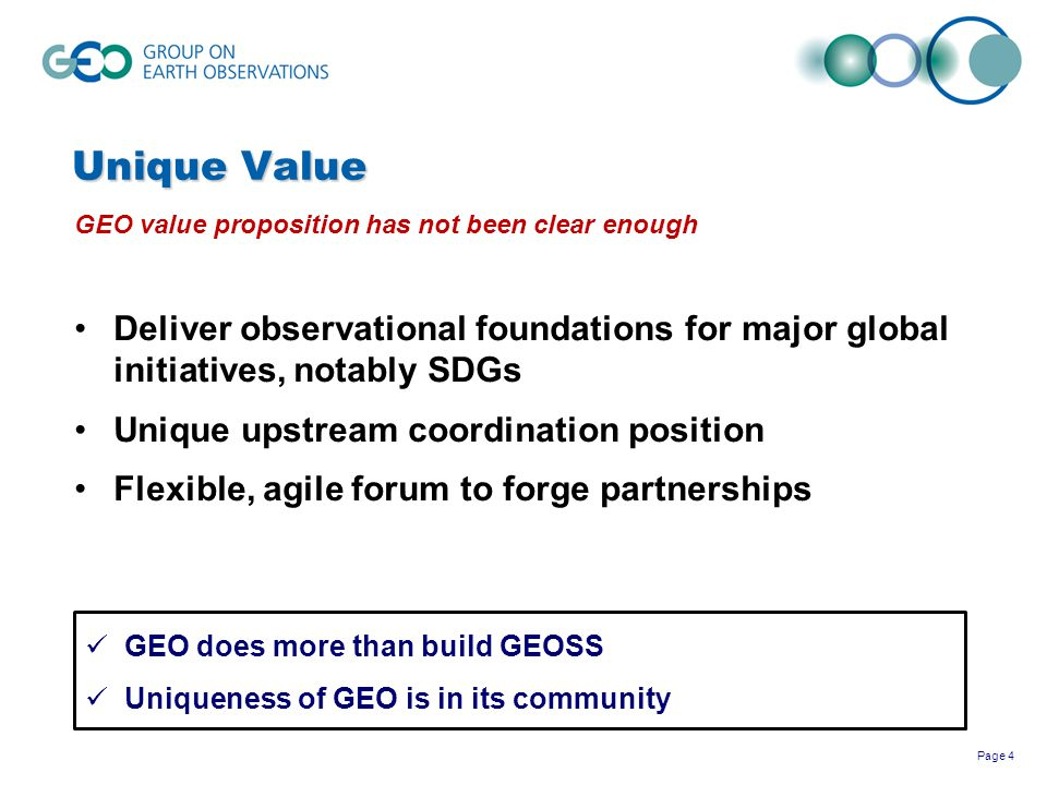 Unique Value GEO value proposition has not been clear enough. Deliver observational foundations for major global initiatives, notably SDGs.
