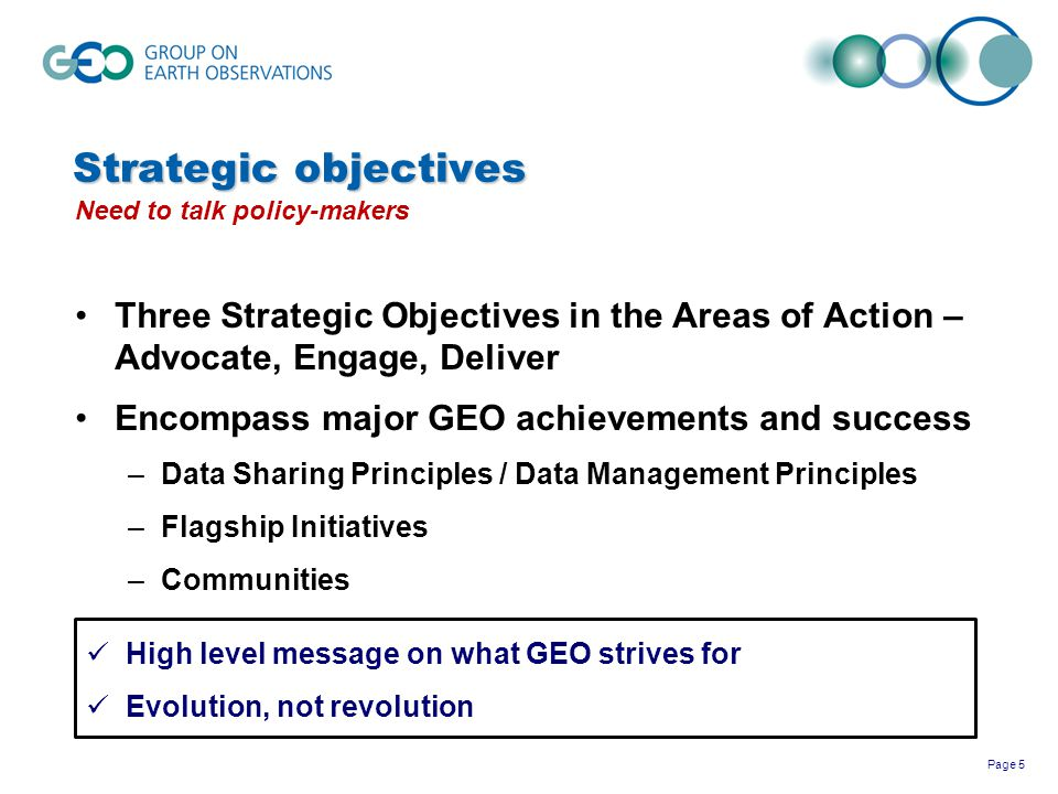 Strategic objectives Need to talk policy-makers. Three Strategic Objectives in the Areas of Action – Advocate, Engage, Deliver.