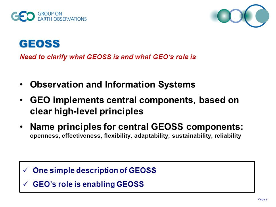 GEOSS Observation and Information Systems