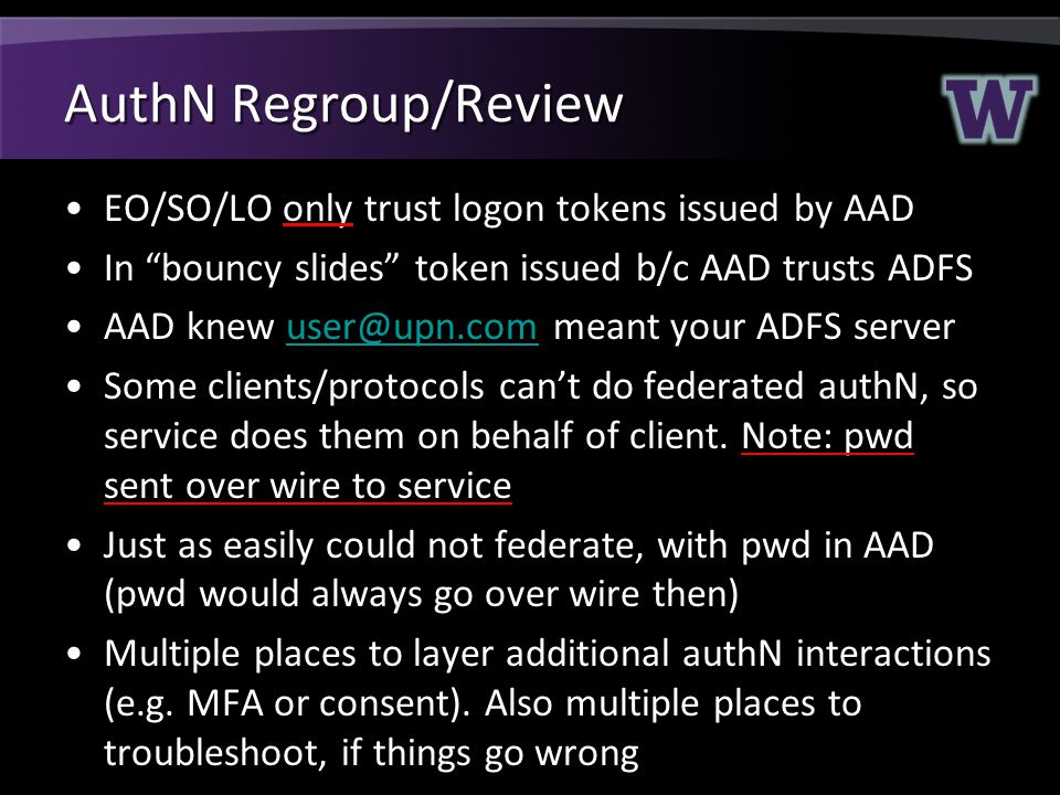 AuthN Regroup/Review EO/SO/LO only trust logon tokens issued by AAD