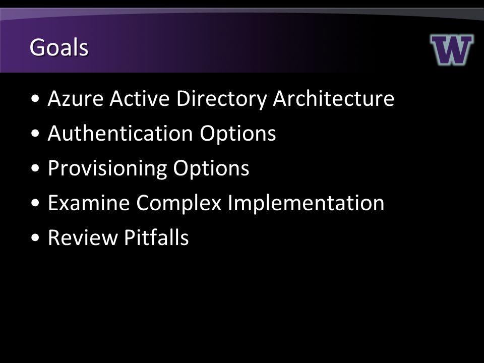 Goals Azure Active Directory Architecture Authentication Options