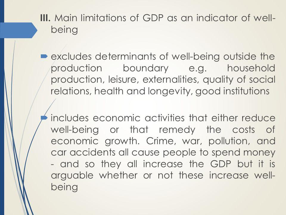 III. Main Iimitations of GDP as an indicator of weII- being