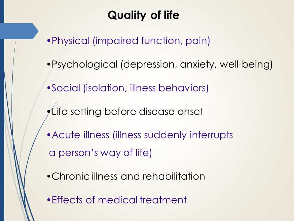 Quality of life Physical (impaired function, pain)
