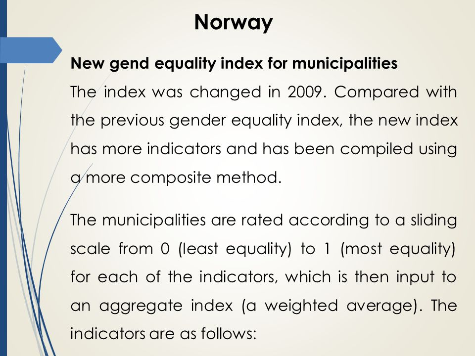 Norway New gend equality index for municipalities