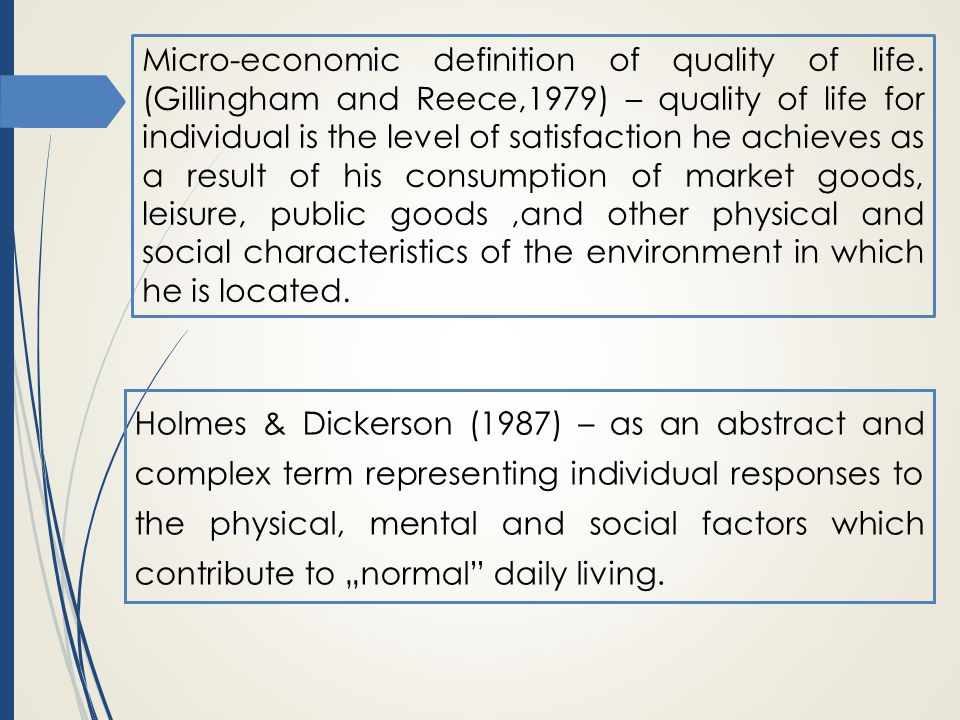 Micro-economic definition of quality of life