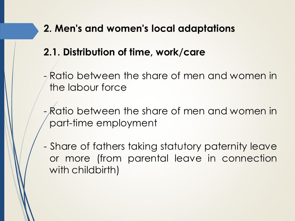 2. Men s and women s local adaptations
