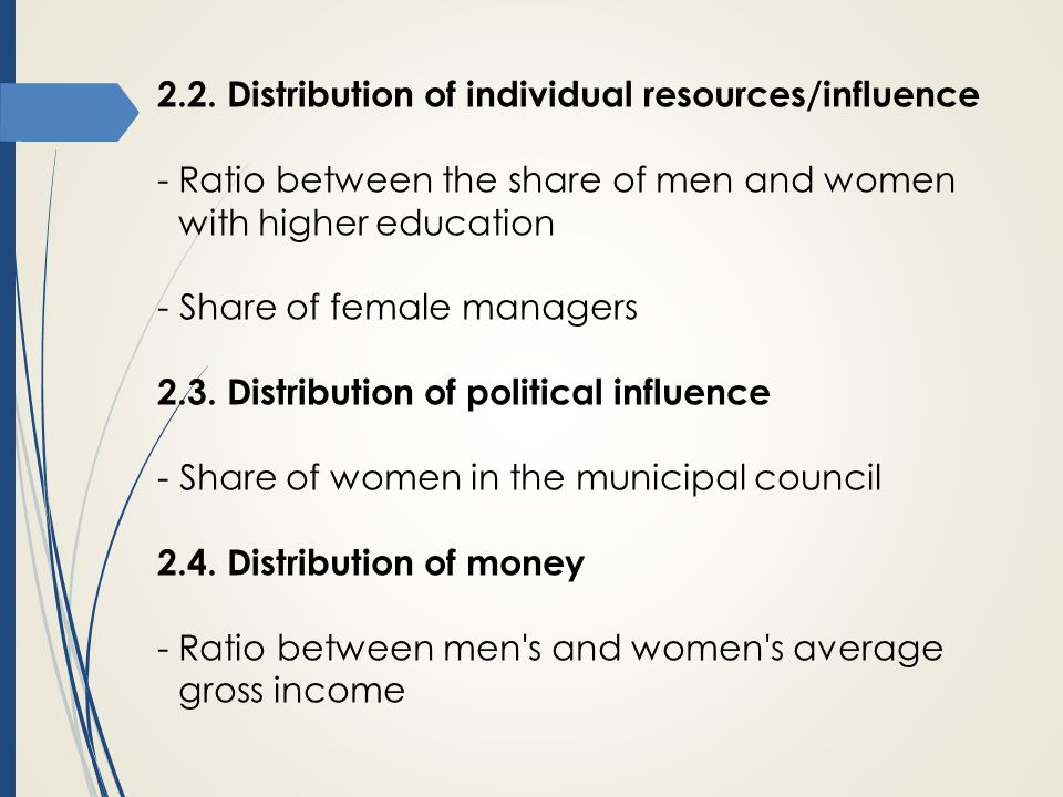 2.2. Distribution of individual resources/influence