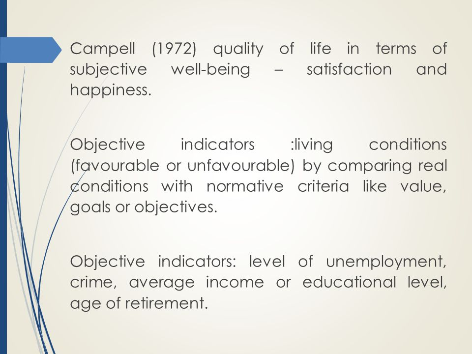 Campell (1972) quality of life in terms of subjective well-being – satisfaction and happiness.