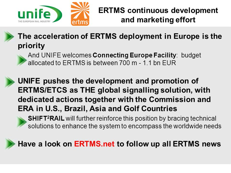 ERTMS continuous development and marketing effort