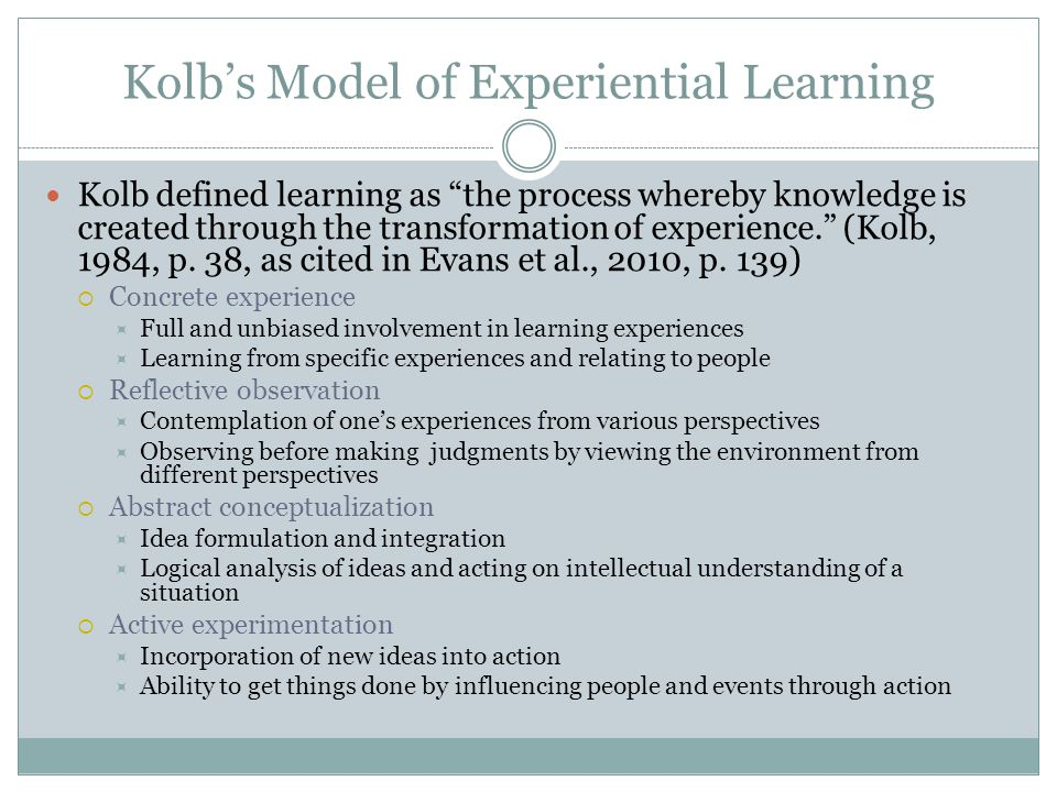 Kolb's Model of Experiential Learning