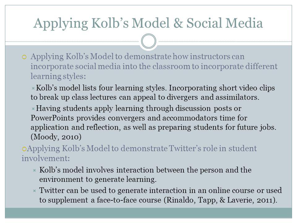 Applying Kolb's Model & Social Media