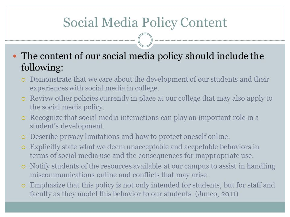 Social Media Policy Content