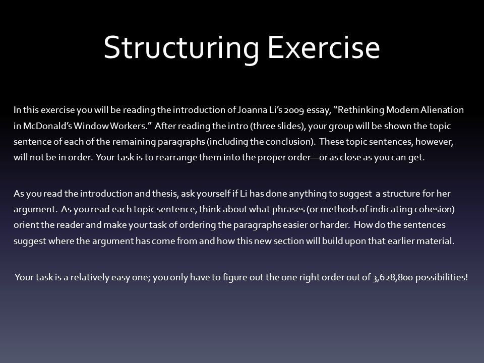 Structuring Exercise