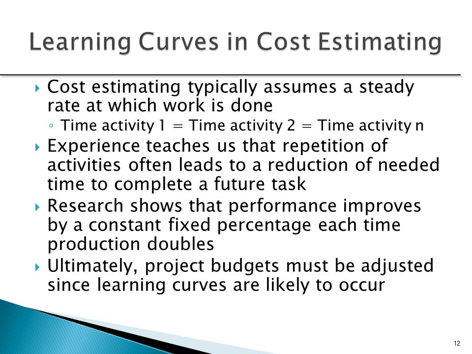 Learning Curves in Cost Estimating