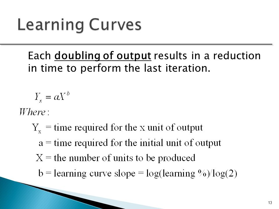 Learning Curves Each doubling of output results in a reduction in time to perform the last iteration.