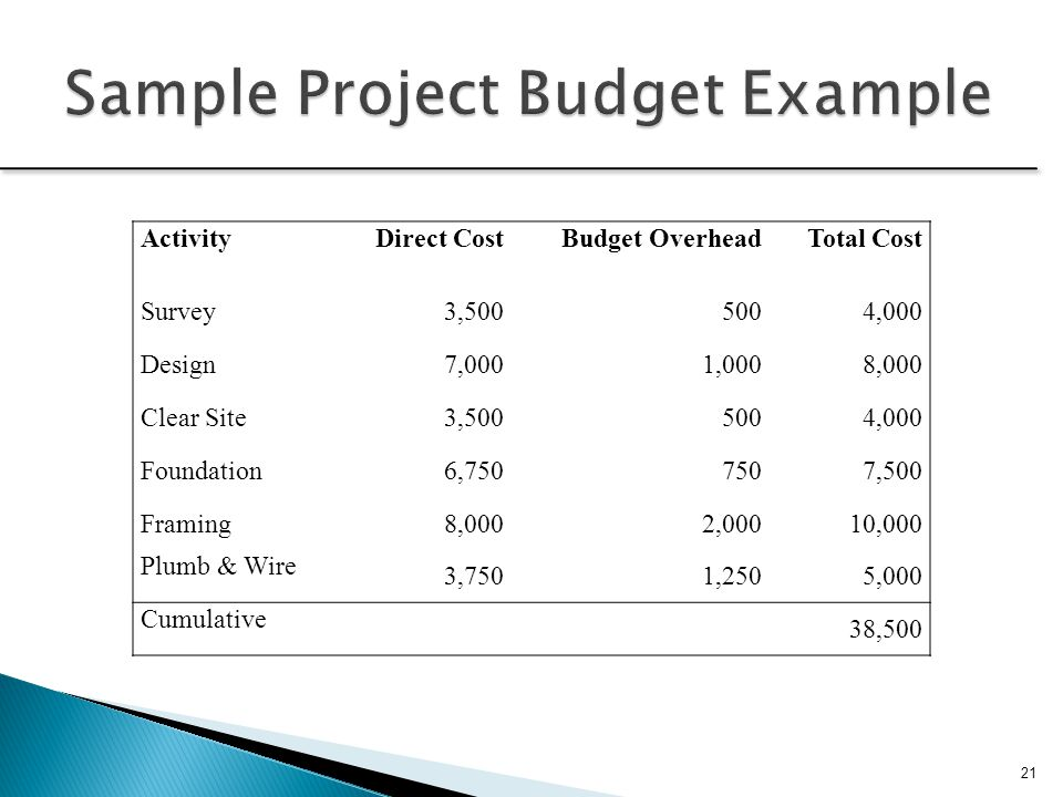 Sample Project Budget Example