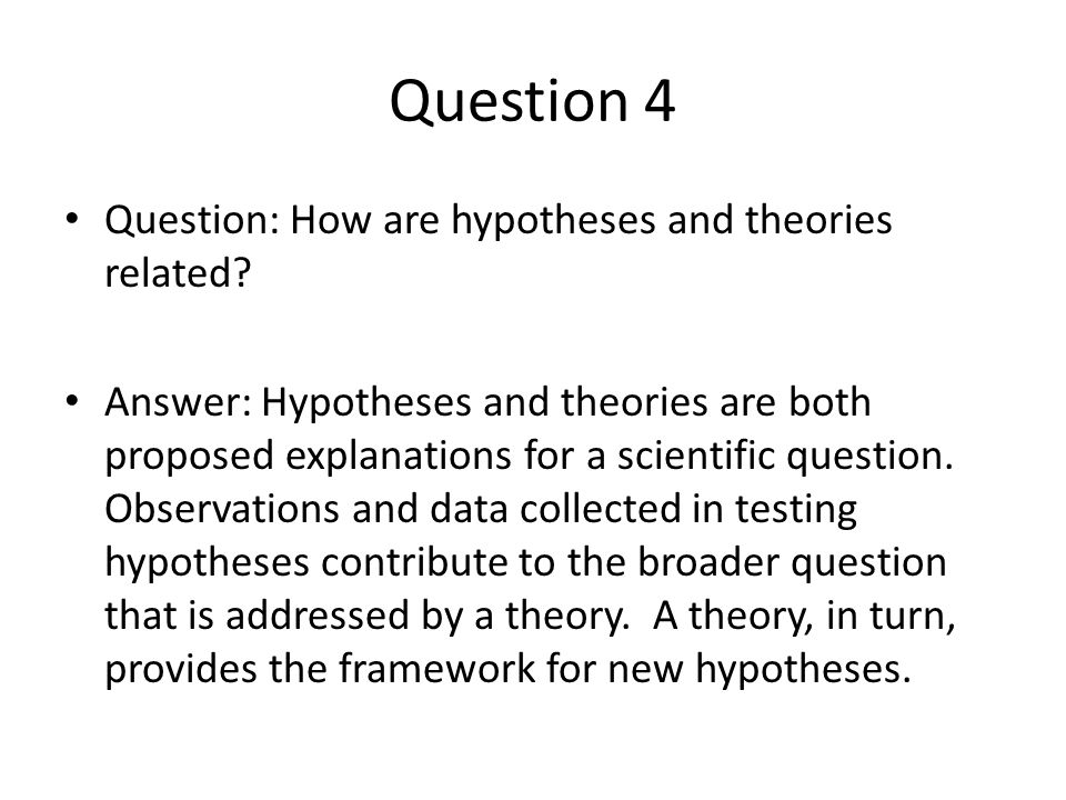 Question 4 Question: How are hypotheses and theories related