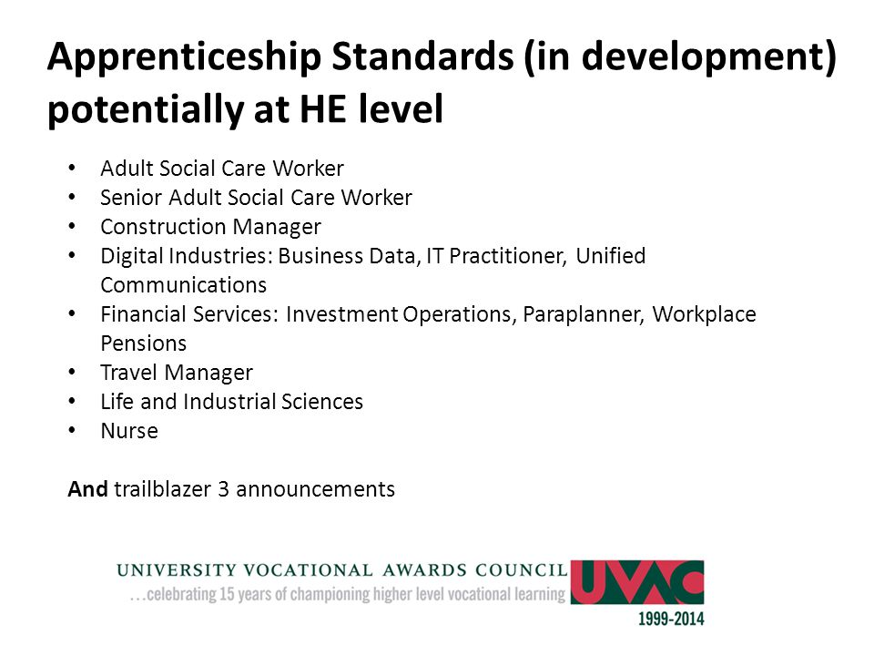 Apprenticeship Standards (in development) potentially at HE level