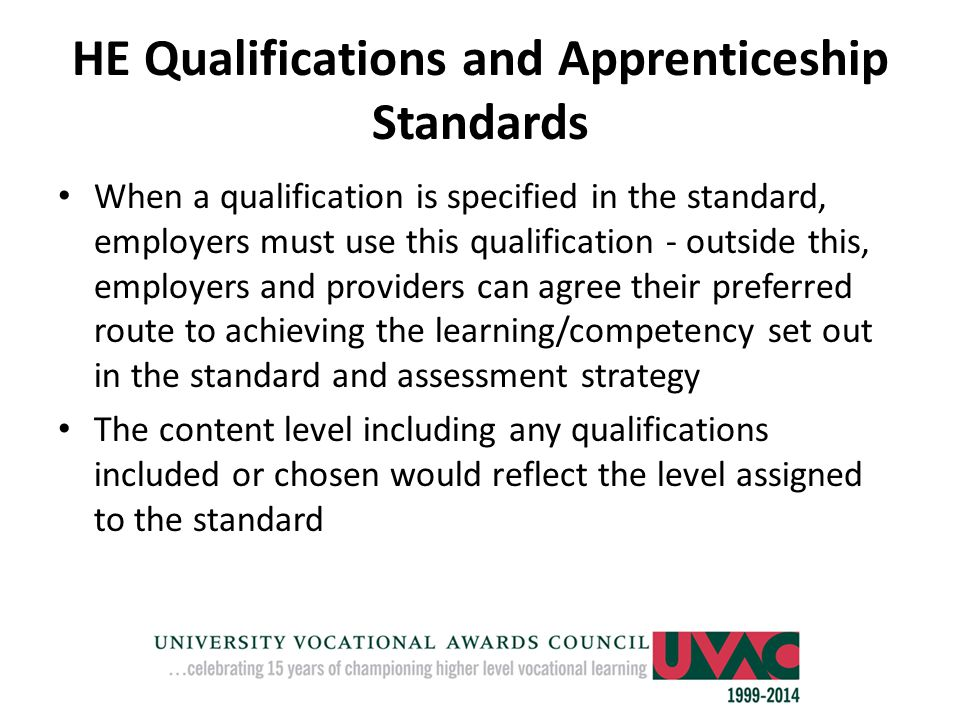 HE Qualifications and Apprenticeship Standards
