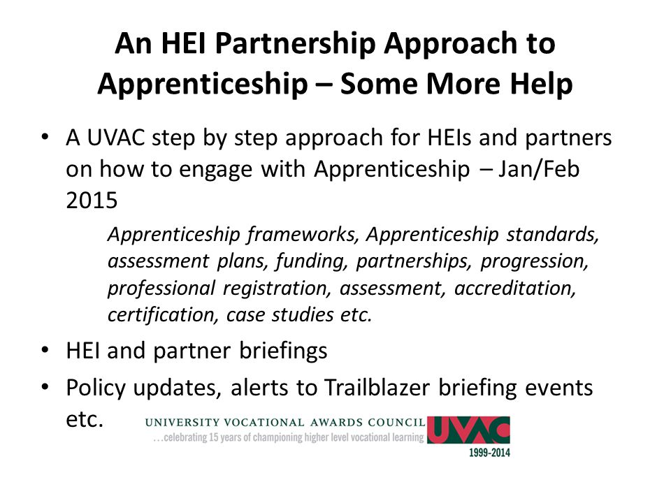 An HEI Partnership Approach to Apprenticeship – Some More Help