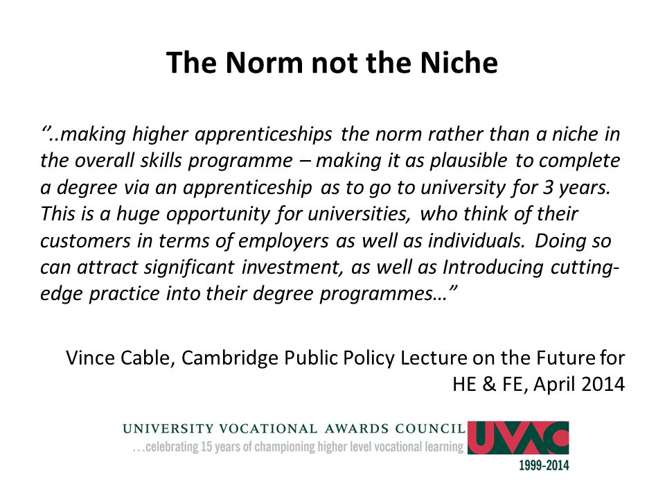 The Norm not the Niche