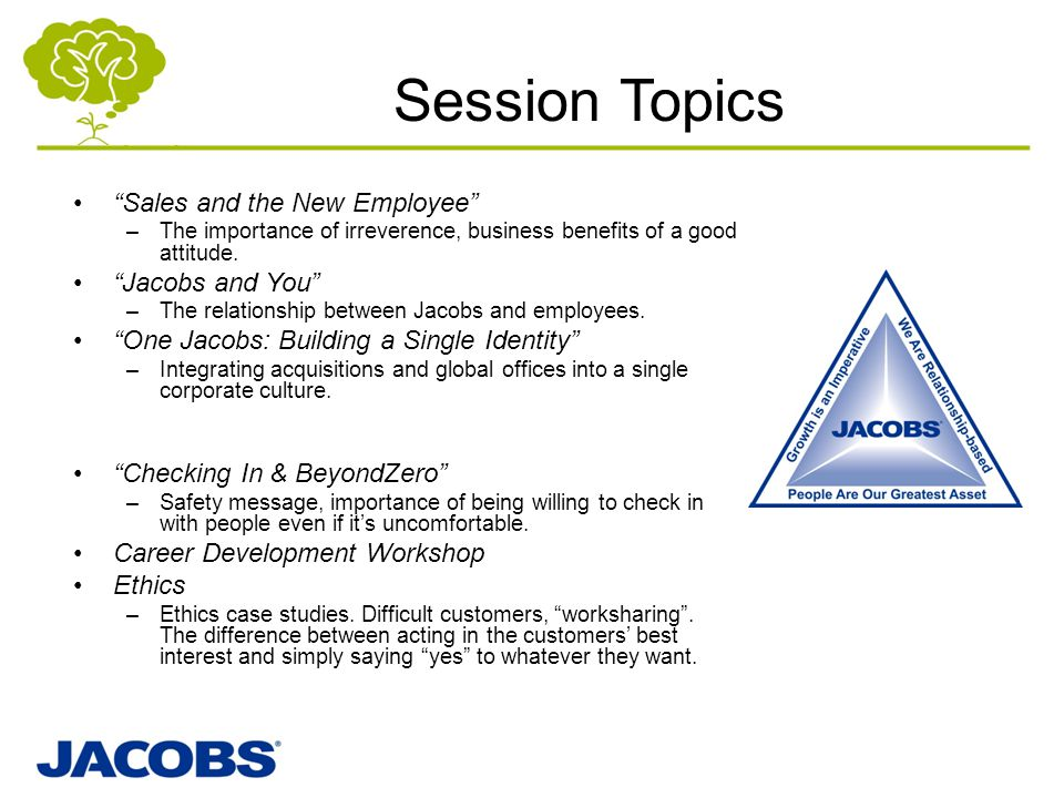 Session Topics Sales and the New Employee Jacobs and You