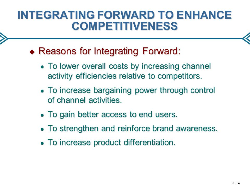 INTEGRATING FORWARD TO ENHANCE COMPETITIVENESS